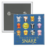 Chinese Zodiac Animals Year of the Snake 2 Inch Square Button