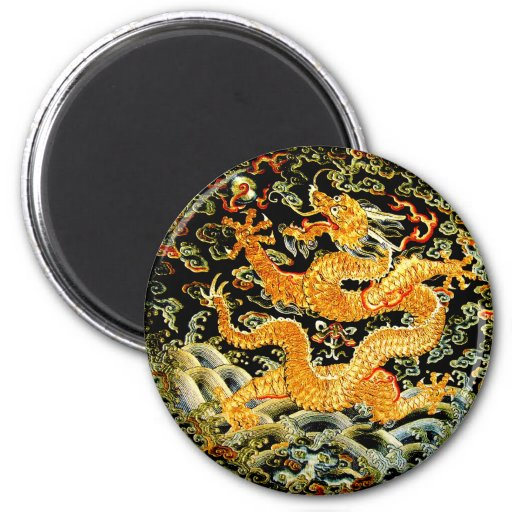 Chinese zodiac antique embroidered golden dragon 2 inch round magnet