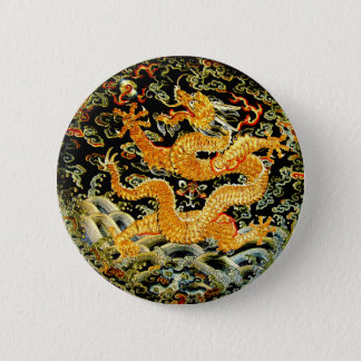 Chinese zodiac antique embroidered golden dragon button