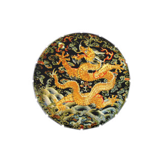 Chinese zodiac antique embroidered golden dragon candy tins