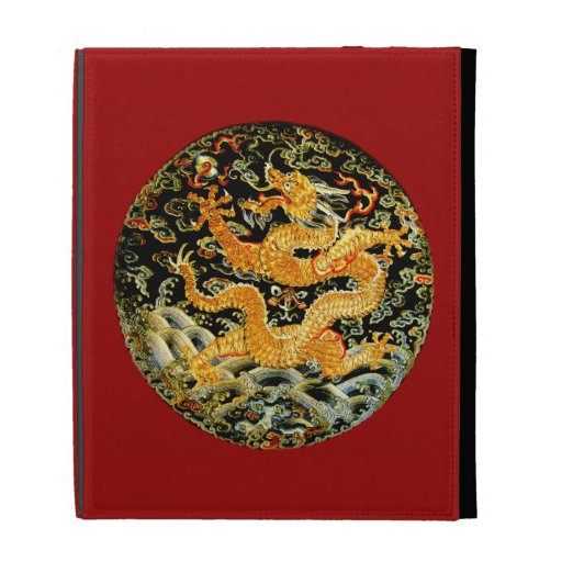 Chinese zodiac antique embroidered golden dragon iPad folio cover