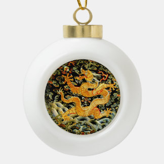 Chinese zodiac antique embroidered golden dragon ceramic ball christmas ornament
