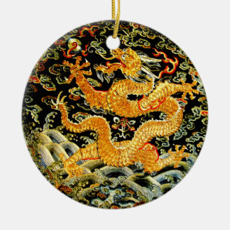 Chinese zodiac antique embroidered golden dragon Double-Sided ceramic round christmas ornament