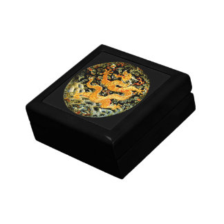 Chinese zodiac antique embroidered golden dragon jewelry box