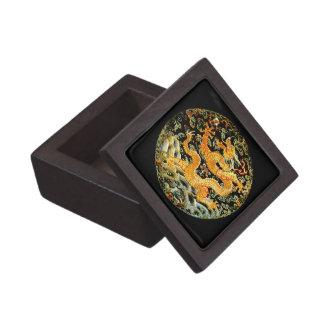 Chinese zodiac antique embroidered golden dragon keepsake box