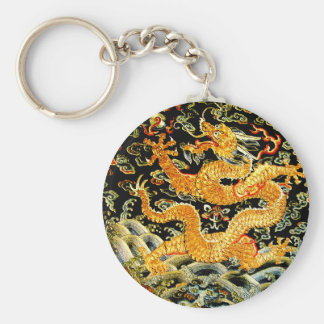 Chinese zodiac antique embroidered golden dragon keychain