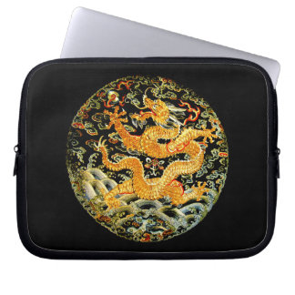Chinese zodiac antique embroidered golden dragon laptop sleeve