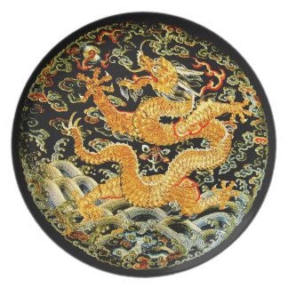 Chinese zodiac antique embroidered golden dragon party plates