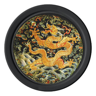 Chinese zodiac antique embroidered golden dragon poker chips set