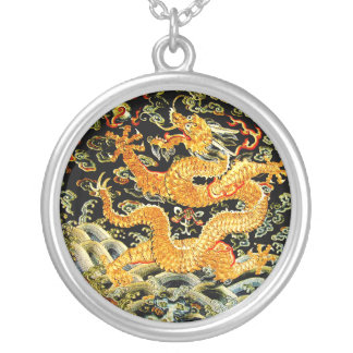 Chinese zodiac antique embroidered golden dragon silver plated necklace
