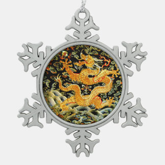 Chinese zodiac antique embroidered golden dragon snowflake pewter christmas ornament