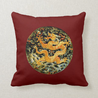 Chinese zodiac antique embroidered golden dragon throw pillow