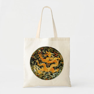 Chinese zodiac antique embroidered golden dragon tote bag