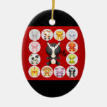 Chinese Zodiac Born in the Year of the Horse Double-Sided Oval Ceramic Christmas Ornament