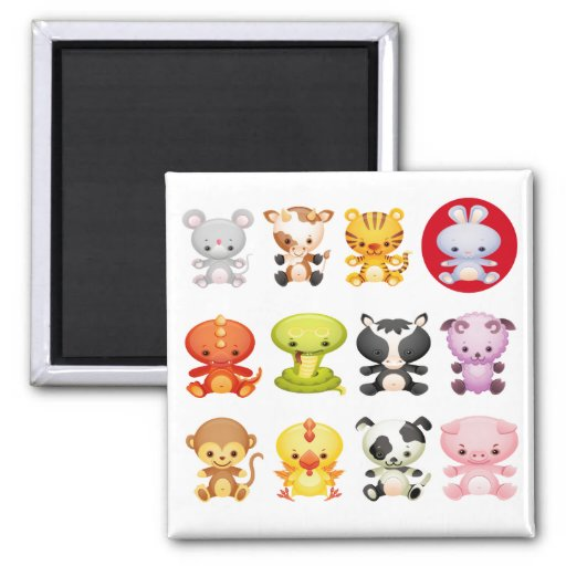 Chinese Zodiac Cartoon Year of the Rabbit 2 Inch Square Magnet