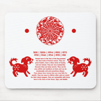 CHINESE ZODIAC DOG PAPERCUT ILLUSTRATION MOUSE PAD