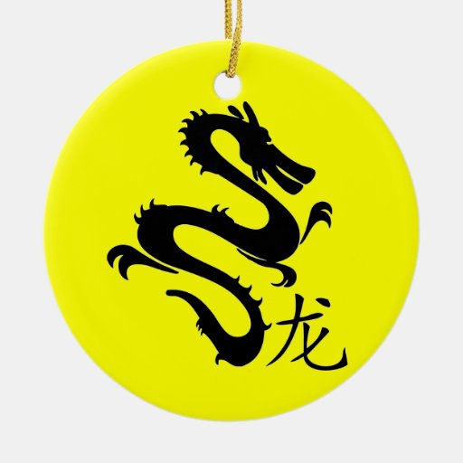 Chinese Zodiac Dragon Double-Sided Ceramic Round Christmas Ornament