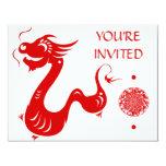 CHINESE ZODIAC DRAGON PAPERCUT ILLUSTRATION 4.25X5.5 PAPER INVITATION CARD