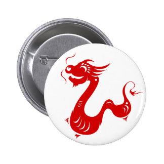 CHINESE ZODIAC DRAGON PAPERCUT ILLUSTRATION PINBACK BUTTON
