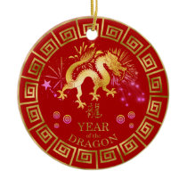 Chinese Zodiac Dragon Red/Gold ID542 Ceramic Ornament