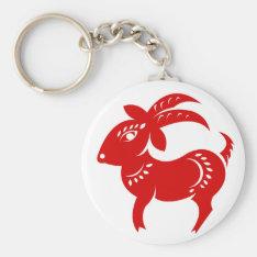 Chinese Zodiac Goat Papercut Illustration Keychain at Zazzle