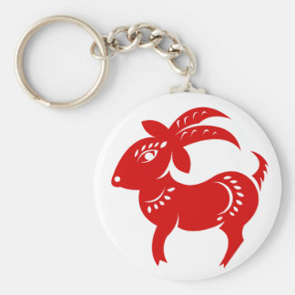 CHINESE ZODIAC GOAT PAPERCUT ILLUSTRATION KEYCHAIN