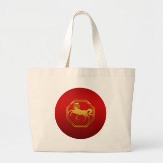 Chinese Zodiac Horse Large Tote Bag