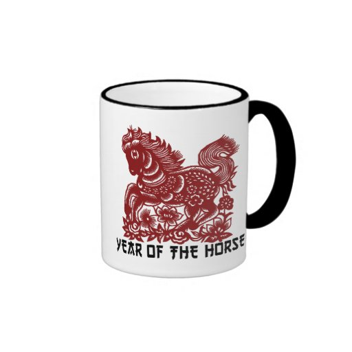 Chinese Zodiac Horse Papercut Coffee Mug