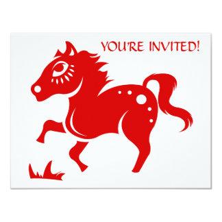 CHINESE ZODIAC HORSE PAPERCUT ILLUSTRATION 4.25X5.5 PAPER INVITATION CARD