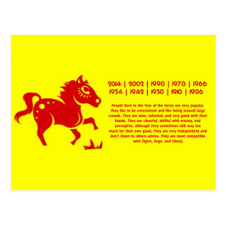 CHINESE ZODIAC HORSE PAPERCUT ILLUSTRATION POSTCARD
