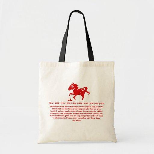 CHINESE ZODIAC HORSE PAPERCUT ILLUSTRATION TOTE BAG