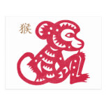 Chinese Zodiac Monkey Paper Cut Postcard