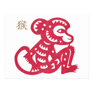 Chinese Zodiac Monkey Paper Cut Postcard