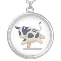 Chinese Zodiac Ox Cute Astrology Sign Silver Plated Necklace