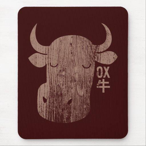 Chinese Zodiac Ox in Kanji Vintage Mousepad
