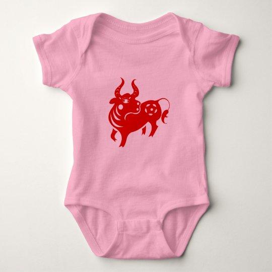 CHINESE ZODIAC OX PAPERCUT ILLUSTRATION BABY BODYSUIT