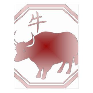 chinese zodiac ox postcard