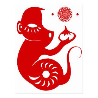 CHINESE ZODIAC PAPERCUT MONKEY ILLUSTRATION POSTCARD