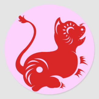 CHINESE ZODIAC PAPERCUT TIGER ILLUSTRATED CLASSIC ROUND STICKER