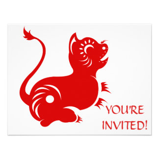 CHINESE ZODIAC PAPERCUT TIGER ILLUSTRATED PERSONALIZED INVITE