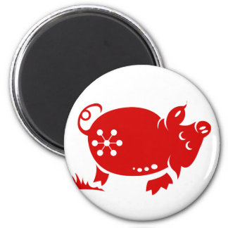 CHINESE ZODIAC PIG PAPERCUT ILLUSTRATION 2 INCH ROUND MAGNET