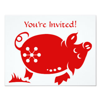CHINESE ZODIAC PIG PAPERCUT ILLUSTRATION 4.25X5.5 PAPER INVITATION CARD