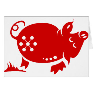 CHINESE ZODIAC PIG PAPERCUT ILLUSTRATION GREETING CARD