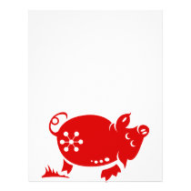 CHINESE ZODIAC PIG PAPERCUT ILLUSTRATION FLYER