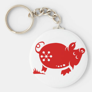 CHINESE ZODIAC PIG PAPERCUT ILLUSTRATION KEYCHAIN