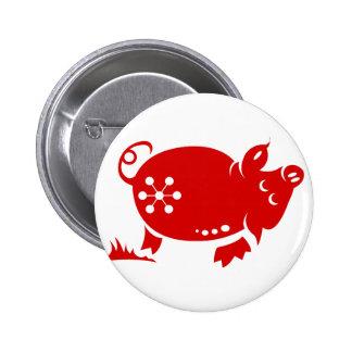 CHINESE ZODIAC PIG PAPERCUT ILLUSTRATION PINBACK BUTTON