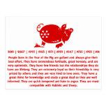 CHINESE ZODIAC PIG PAPERCUT ILLUSTRATION POSTCARD