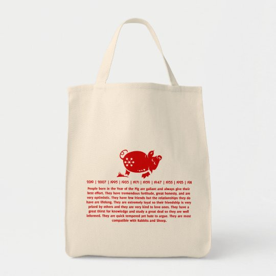 CHINESE ZODIAC PIG PAPERCUT ILLUSTRATION TOTE BAG