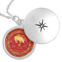 Chinese Zodiac Pig Red/Gold ID542 Locket Necklace