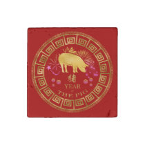 Chinese Zodiac Pig Red/Gold ID542 Stone Magnet